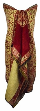 High Grade 4 Ply Reversible Paisley Pashmina Hand Made Shawl (Maroon)