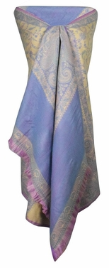 High Grade 4 Ply Reversible Paisley Pashmina Hand Made Shawl (Purple)