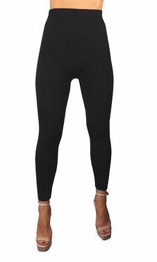 Peach Couture High Waist Slimming Seamless Fleece Lined Winter Leggings Yoga Pants Braided Black