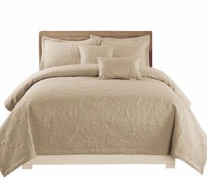 Peach Couture Home Collection Embossed Paisley 5 pcs Quilt Set Beige