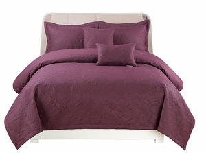 Peach Couture Home Collection Embossed Paisley 5 pcs Quilt Set Purple
