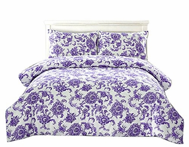 Peach Couture Home Collection Floral Dream 3 pcs Comforter Set Purple