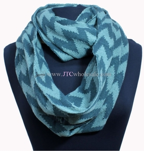 Peach Couture® Hot Design Knitted Classic Chevron Infinity Loop Scarves - Teal & White