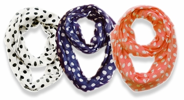 3 Pack Soft & Light and Sheer Polka Dot Circle Print Infinity Loop Scarf (Coral, White, Navy)