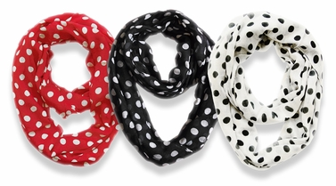 3 Pack Soft & Light Polka Dot Circle Print Infinity Loop Scarves (Red, White, Black)