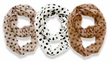 3 Pack Soft & Light Polka Dot Circle Print Infinity Loop Scarf (White, Taupe, Cream)