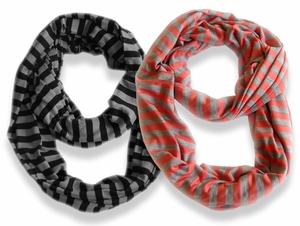 Peach Couture� Lightweight 100% Cotton Striped Jersey Infinity Loop Scarf 2 Pack (Black/Grey, Coral)