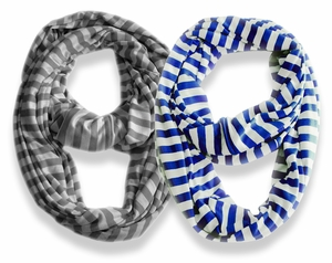 Lightweight 100% Cotton Striped Jersey Infinity Loop Scarf 2 Pack (Blue, Grey)