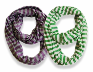 Peach Couture� Lightweight 100% Cotton Striped Jersey Infinity Loop Scarf 2 Pack (Green, Purple)