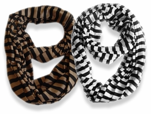 Peach Couture� Lightweight 100% Cotton Striped Jersey Infinity Loop Scarf 2 Pack (Taupe, Black/White)
