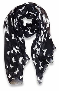 Peach Couture Lightweight Fabric Colorful Pretty Butterfly Print Fashion Scarf (Black)