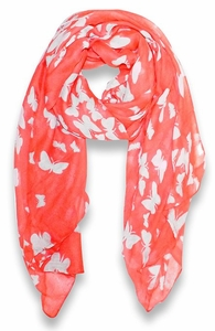 Peach Couture Lightweight Fabric Colorful Pretty Butterfly Print Fashion Scarf (Coral)