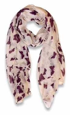 Lightweight Fabric Colorful Pretty Butterfly Print Fashion Scarf (Cream/Purple)