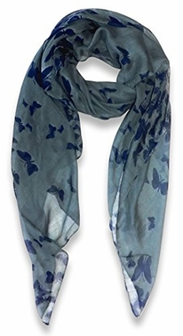Lightweight Fabric Colorful Pretty Butterfly Print Fashion Scarf (Dark Grey)