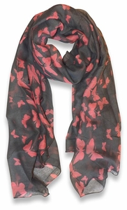 Lightweight Fabric Colorful Pretty Butterfly Print Fashion Scarf (Grey)