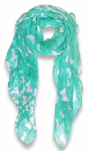 Lightweight Fabric Colorful Pretty Butterfly Print Fashion Scarf (Mint)