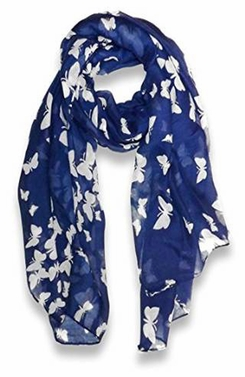 Lightweight Fabric Colorful Pretty Butterfly Print Fashion Scarf (Navy)