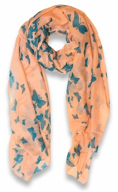 Lightweight Fabric Colorful Pretty Butterfly Print Fashion Scarf (Peach)