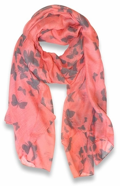 Lightweight Fabric Colorful Pretty Butterfly Print Fashion Scarf (Pink)