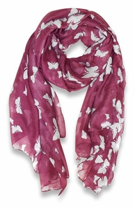 Lightweight Fabric Colorful Pretty Butterfly Print Fashion Scarf (Plum)