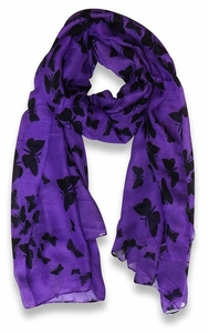 Lightweight Fabric Colorful Pretty Butterfly Print Fashion Scarf (Purple)