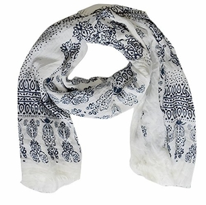 Lightweight Heavenly Henna Paisley Printed Eyelash Fringe Scarf (Blue)