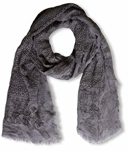 Lightweight Heavenly Henna Paisley Printed Eyelash Fringe Scarf (Grey)