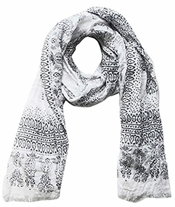 Lightweight Heavenly Henna Paisley Printed Eyelash Fringe Scarf (White)