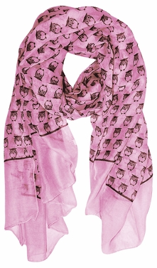 Lightweight Soft Animal Owl Printed Scarf Shawl (Pink)