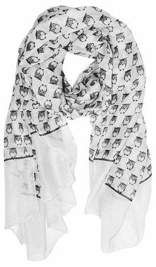 Lightweight Soft Animal Owl Printed Scarf Shawl (White)