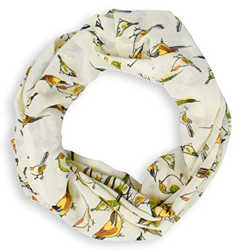 Lovely Multi Pattern Light Bird Floral Print Infinity Loop Scarf (Cream Sheer)