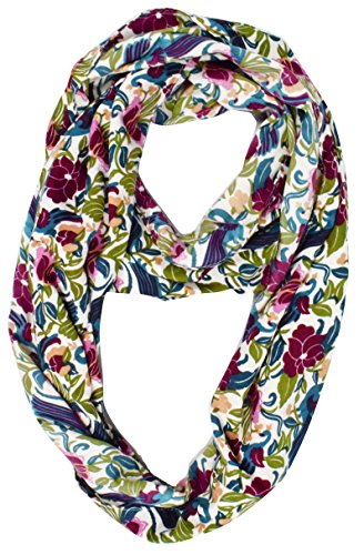 Lovely Multi Pattern Light Bird Floral Print Infinity Loop Scarf (Maroon Floral)