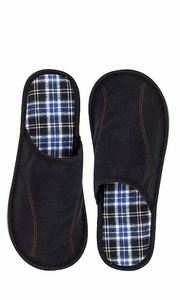 Peach Couture Mens Fleece Lined Relaxing Nordic Style House Slippers Black Plaid 2