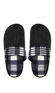 Peach Couture Mens Fleece Lined Relaxing Nordic Style House Slippers Black Plaid 3
