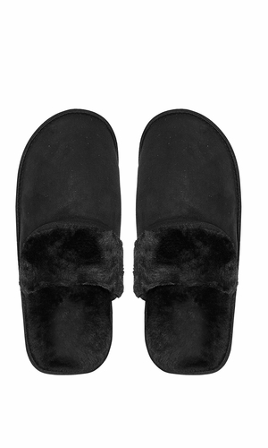Peach Couture Mens Fleece Lined Relaxing Nordic Style House Slippers Black Solid