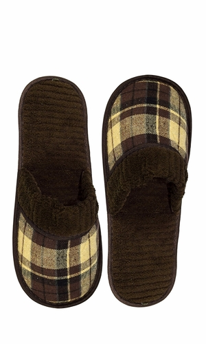 Peach Couture Mens Fleece Lined Relaxing Nordic Style House Slippers Brown Plaid