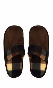 Peach Couture Mens Fleece Lined Relaxing Nordic Style House Slippers Brown Plaid 3