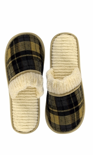 Peach Couture Mens Fleece Lined Relaxing Nordic Style House Slippers Cream Navy Plaid