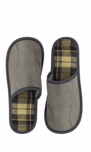 Peach Couture Mens Fleece Lined Relaxing Nordic Style House Slippers Grey Plaid 2