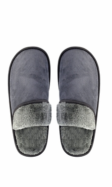 Peach Couture Mens Fleece Lined Relaxing Nordic Style House Slippers Grey Solid