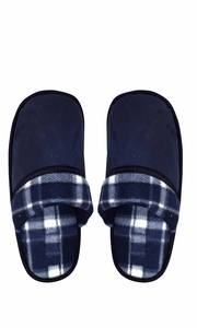 Peach Couture Mens Fleece Lined Relaxing Nordic Style House Slippers Navy Plaid 3