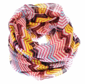 Peach Couture Modern Radiant Multicolored Chevron Geometric Infinity Loop Scarf (Fuchsia/Turquoise)