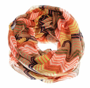Peach Couture Modern Radiant Multicolored Chevron Geometric Infinity Loop Scarf (Hot Pink)