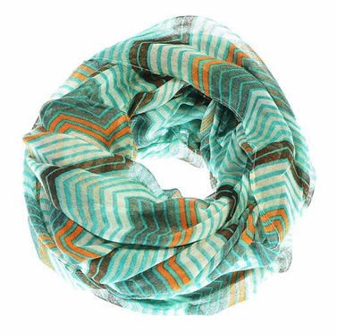 Peach Couture Modern Radiant Multicolored Chevron Geometric Infinity Loop Scarf (Teal/Brown)