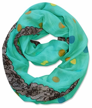 Multi Polka Dot Circle and Lace Print Infinity Loop Scarf (Aqua)