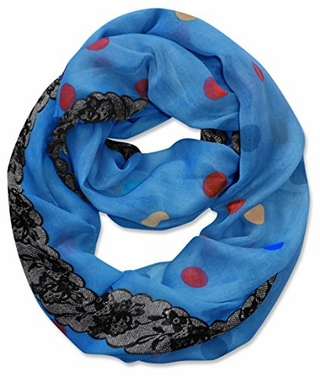 Multi Polka Dot Circle and Lace Print Infinity Loop Scarf (Blue)