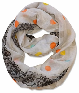 Multi Polka Dot Circle and Lace Print Infinity Loop Scarf (Ivory)