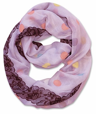 Multi Polka Dot Circle and Lace Print Infinity Loop Scarf (Lavender)