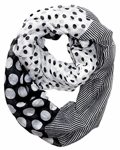 Multi Polka Dot Circle and Stripe Print Infinity Loop Scarf (Black)