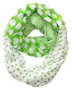 Multi Polka Dot Circle and Stripe Print Infinity Loop Scarf (Green and White)